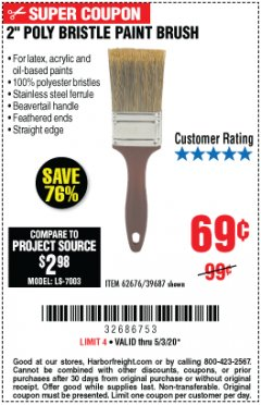 "Harbor Freight Coupon 2"" PROFESSIONAL PAINT BRUSH Lot No. 62676/39687 Valid: 4/6/20 - 6/30/20 - $0.69"