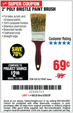 "Harbor Freight Coupon 2"" PROFESSIONAL PAINT BRUSH Lot No. 62676/39687 Valid Thru: 6/30/20 - $0.69"