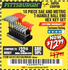 Harbor Freight Coupon 18 PIECE SAE AND METRIC T-HANDLE BALL END HEX KEY SET Lot No. 96645/62476/63166/63167 Expired: 6/13/18 - $12.99