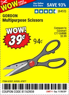 Harbor Freight Coupon MULTIPURPOSE SCISSORS Lot No. 36872/62507/63520/47877 Valid Thru: 11/30/20 - $0.39