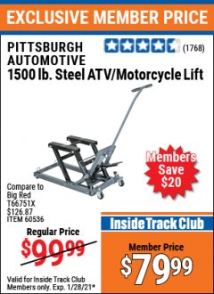 Harbor Freight ITC Coupon Aluminum Motorcycle / ATV Lift Lot No. 62280 / 60636 Valid: 1/10/21 1/28/21 - $79.99