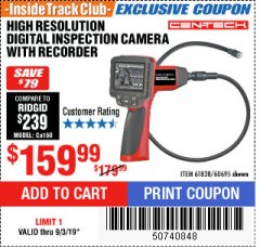 "Harbor Freight ITC Coupon 3.5"" LCD Digital Inspection Camera with Recorder Lot No. 61838 60695 Expired: 9/3/19 - $159.99"