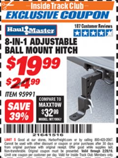 Harbor Freight ITC Coupon 8-IN-1 Adjustable Ball Mount Hitch Lot No. 95991 Expired: 2/28/19 - $19.99