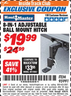 Harbor Freight ITC Coupon 8-IN-1 Adjustable Ball Mount Hitch Lot No. 95991 Expired: 4/30/19 - $19.99