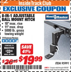 Harbor Freight ITC Coupon 8-IN-1 Adjustable Ball Mount Hitch Lot No. 95991 Expired: 4/30/20 - $19.99