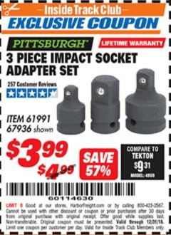 Harbor Freight ITC Coupon 3 Piece Impact Socket Adaptor Set Lot No. 61991 / 67936 Expired: 12/31/18 - $3.99