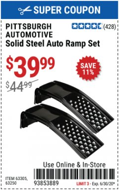 Harbor Freight Coupon 2 PIECE SOLID STEEL AUTO RAMP SET Lot No. 68365/63305/63250 EXPIRES: 6/30/20 - $39.99