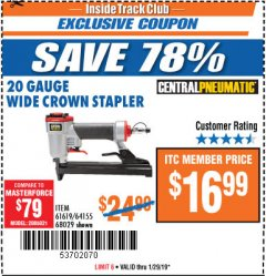 Harbor Freight ITC Coupon 20 Gauge Wide Crown Stapler Lot No. 61619/68029 Expired: 1/29/19 - $16.99
