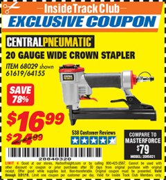 Harbor Freight ITC Coupon 20 Gauge Wide Crown Stapler Lot No. 61619/68029 Expired: 3/31/19 - $16.99