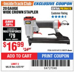 Harbor Freight ITC Coupon 20 Gauge Wide Crown Stapler Lot No. 61619/68029 Expired: 4/23/19 - $16.99