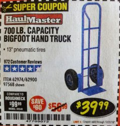 Harbor Freight Coupon BIGFOOT HAND TRUCK Lot No. 62974/62900/67568/97568 Expired: 12/31/18 - $39.99