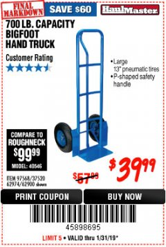 Harbor Freight Coupon BIGFOOT HAND TRUCK Lot No. 62974/62900/67568/97568 Expired: 1/31/19 - $39.99