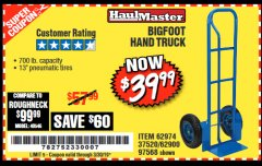 Harbor Freight Coupon BIGFOOT HAND TRUCK Lot No. 62974/62900/67568/97568 Valid Thru: 3/30/19 - $39.99