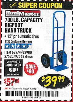 Harbor Freight Coupon BIGFOOT HAND TRUCK Lot No. 62974/62900/67568/97568 Expired: 4/30/19 - $39.99