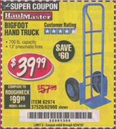 Harbor Freight Coupon BIGFOOT HAND TRUCK Lot No. 62974/62900/67568/97568 Expired: 8/24/19 - $39.99