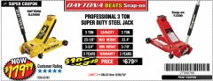 Harbor Freight Coupon 3 TON DAYTONA PROFESSIONAL STEEL FLOOR JACK - SUPER DUTY Lot No. 63183 Expired: 9/30/18 - $179.99
