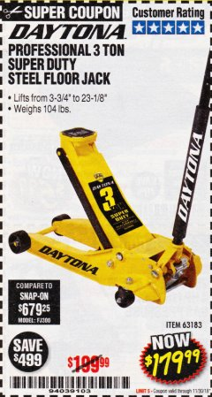 Harbor Freight Coupon 3 TON DAYTONA PROFESSIONAL STEEL FLOOR JACK - SUPER DUTY Lot No. 63183 Expired: 11/30/18 - $179.99
