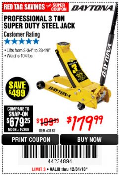 Harbor Freight Coupon 3 TON DAYTONA PROFESSIONAL STEEL FLOOR JACK - SUPER DUTY Lot No. 63183 Expired: 12/31/18 - $179.99