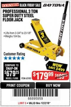 Harbor Freight Coupon 3 TON DAYTONA PROFESSIONAL STEEL FLOOR JACK - SUPER DUTY Lot No. 63183 Expired: 12/2/18 - $179.99