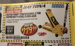Harbor Freight Coupon 3 TON DAYTONA PROFESSIONAL STEEL FLOOR JACK - SUPER DUTY Lot No. 63183 Expired: 4/30/19 - $179.99