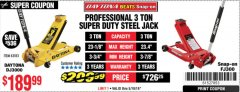 Harbor Freight Coupon 3 TON DAYTONA PROFESSIONAL STEEL FLOOR JACK - SUPER DUTY Lot No. 63183 Valid Thru: 5/19/19 - $189.99