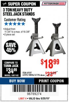 Harbor Freight Coupon 3 TON HEAVY DUTY STEEL JACK STANDS Lot No. 61196/62392/38846/69597 Valid: 9/10/19 9/29/19 - $18.99