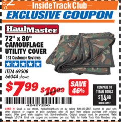 "Harbor Freight ITC Coupon 72"" x 80"" CAMOUFLAGE UTILITY BLANKET Lot No. 69508, 66044 Expired: 1/31/19 - $7.99"