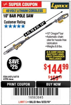 Harbor Freight Coupon LYNXX 40V LITHIUM CORDLESS POLE SAW Lot No. 64476/63286/64718 Expired: 9/23/18 - $144.99