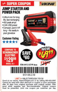 Harbor Freight Coupon LITHIUM ION JUMP STARTER AND POWER PACK Lot No. 62749/64412 Expired: 7/31/18 - $69.99