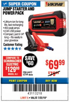 Harbor Freight Coupon LITHIUM ION JUMP STARTER AND POWER PACK Lot No. 62749/64412 Expired: 7/22/18 - $69.99