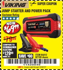Harbor Freight Coupon LITHIUM ION JUMP STARTER AND POWER PACK Lot No. 62749/64412 Expired: 10/30/18 - $69.99