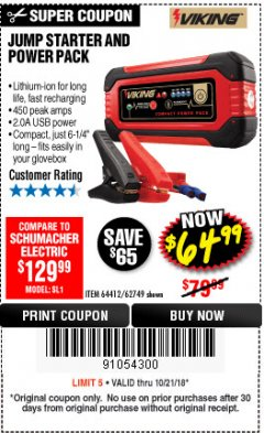 Harbor Freight Coupon LITHIUM ION JUMP STARTER AND POWER PACK Lot No. 62749/64412 Expired: 10/21/18 - $64.99