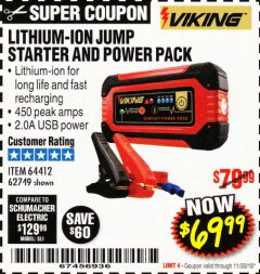 Harbor Freight Coupon LITHIUM ION JUMP STARTER AND POWER PACK Lot No. 62749/64412 Expired: 11/30/18 - $69.99