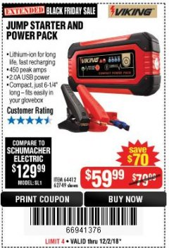 Harbor Freight Coupon LITHIUM ION JUMP STARTER AND POWER PACK Lot No. 62749/64412 Expired: 12/2/18 - $59.99