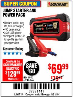 Harbor Freight Coupon LITHIUM ION JUMP STARTER AND POWER PACK Lot No. 62749/64412 Expired: 1/21/19 - $69.99