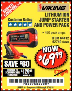 Harbor Freight Coupon LITHIUM ION JUMP STARTER AND POWER PACK Lot No. 62749/64412 Expired: 3/30/19 - $69.99