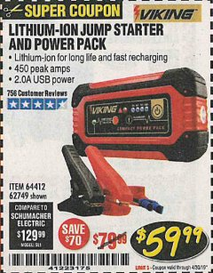 Harbor Freight Coupon LITHIUM ION JUMP STARTER AND POWER PACK Lot No. 62749/64412 Expired: 4/30/19 - $59.99