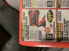 Harbor Freight Coupon LITHIUM ION JUMP STARTER AND POWER PACK Lot No. 62749/64412 Expired: 3/31/19 - $59.99