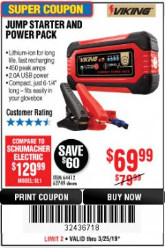 Harbor Freight Coupon LITHIUM ION JUMP STARTER AND POWER PACK Lot No. 62749/64412 Expired: 3/24/19 - $69.99