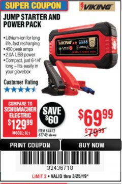 Harbor Freight Coupon LITHIUM ION JUMP STARTER AND POWER PACK Lot No. 62749/64412 Expired: 3/25/19 - $69.99