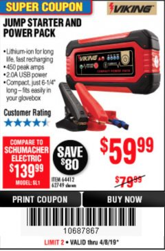Harbor Freight Coupon LITHIUM ION JUMP STARTER AND POWER PACK Lot No. 62749/64412 Expired: 4/8/19 - $59.99