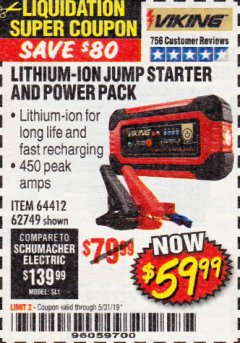 Harbor Freight Coupon LITHIUM ION JUMP STARTER AND POWER PACK Lot No. 62749/64412 EXPIRES: 5/31/19 - $59.99