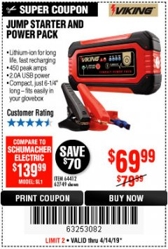 Harbor Freight Coupon LITHIUM ION JUMP STARTER AND POWER PACK Lot No. 62749/64412 Expired: 4/14/19 - $69.99