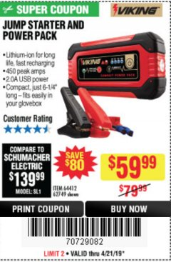 Harbor Freight Coupon LITHIUM ION JUMP STARTER AND POWER PACK Lot No. 62749/64412 Expired: 4/21/19 - $59.99