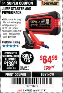 Harbor Freight Coupon LITHIUM ION JUMP STARTER AND POWER PACK Lot No. 62749/64412 Expired: 5/12/19 - $64.99