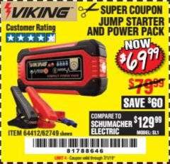 Harbor Freight Coupon LITHIUM ION JUMP STARTER AND POWER PACK Lot No. 62749/64412 Expired: 7/1/19 - $69.99