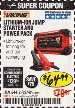 Harbor Freight Coupon LITHIUM ION JUMP STARTER AND POWER PACK Lot No. 62749/64412 Expired: 6/30/19 - $64.99