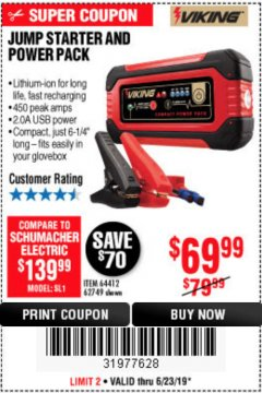 Harbor Freight Coupon LITHIUM ION JUMP STARTER AND POWER PACK Lot No. 62749/64412 Expired: 6/23/19 - $69.99