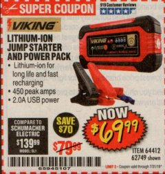Harbor Freight Coupon LITHIUM ION JUMP STARTER AND POWER PACK Lot No. 62749/64412 Expired: 7/31/19 - $69.99