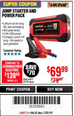 Harbor Freight Coupon LITHIUM ION JUMP STARTER AND POWER PACK Lot No. 62749/64412 Expired: 7/22/19 - $69.99